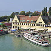 Ship In The Lindau Harbor Lake Constance Germany Art Print
