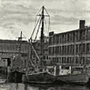 Ship Mooring Vintage Art Print
