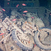 Motorbikes On A Ship Wreck Art Print