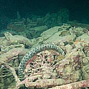 Ship Wreck And Motorbikes Art Print