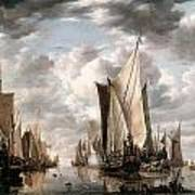 Shipping In A Calm At Flushing Wiht A States General Yacht Firing A Salute Art Print by Jan van de Cappelle