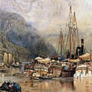 Shipping On The Hudson River Art Print by Samuel Colman
