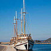 Ships At Lefkada Art Print