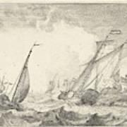 Ships At Sea, Ludolf Bakhuysen Art Print