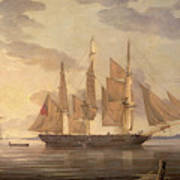 Ships In Harbor Signed And Dated Lower Right R Art Print