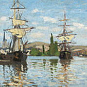 Ships Riding On The Seine At Rouen Print by Claude Monet