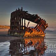 Shipwreck At Sunset Art Print