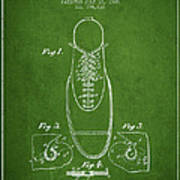 Shoe Eyelet Patent From 1905 - Green Art Print