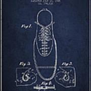 Shoe Eyelet Patent From 1905 - Navy Blue Art Print