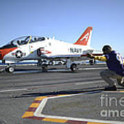 Shooter Signals To The Pilot Of A T-45c Art Print
