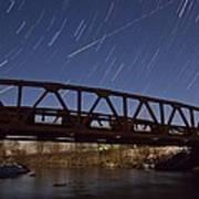 Shooting Star Over Bridge Art Print
