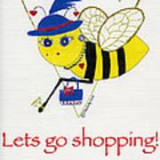 Shopping Bee Gilda Art Print by Christy Woodland
