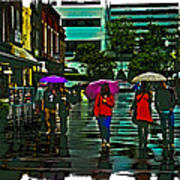 Shopping In The Rain - Knoxville Art Print