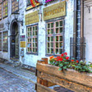 Shops And Flower Boxes Art Print