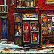 Shops And Streets Of St Henri- Montreal Paintings Depanneur Coca Cola Winter City Scenes Art Print