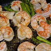 Shrimp And Asparagus Art Print