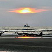 Shrimp Boat At Sunrise Art Print