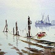 Shrimp Boat With Evening Lights Art Print