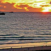 Shrimp Boats And Gulls Over Sea Of Cortez At Sunset From Playa Bonita Beach-mexico Art Print