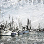 Shrimp Boats Sketch Photo Art Print
