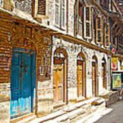 Shutters And Doors Along The Street In Bhaktapur-city Of Devotees-nepal  Art Print