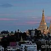 Shwedagon Pagoda In Yangon Myanmar Art Print