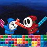 Shy Guys Playing Tetris Print by Katie Clark