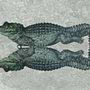 Siamese Twins Blue And Green Crocodiles On Sage Green Stone Art Print