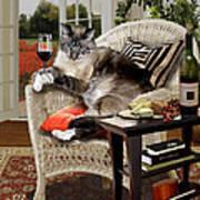 Funny Pet A Wine Bibbing Kitty  Art Print