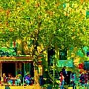 Sidewalk Cafe Rue St Denis Dappled Sunlight Shade Trees Joys Of Montreal City Scene  Carole Spandau Art Print