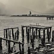 Siglufjordur Old Pier Black And White Art Print