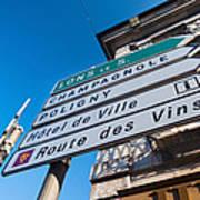 Sign For The Route Des Vins, Arbois Art Print