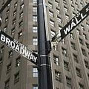 Signs For Broadway And Wall Street Art Print