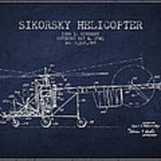 Sikorsky Helicopter Patent Drawing From 1943 Art Print