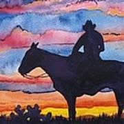 Silhouette Cowboy Art Print