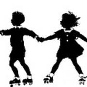 Silhouette Of Children Rollerskating Art Print