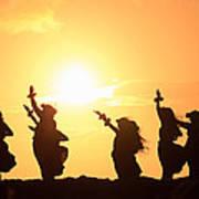 Silhouette Of Hula Dancers At Sunrise Art Print