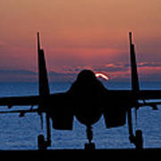Silhouette Of Military Attack Aircraft Against Vibrant Sunset Sk Art Print