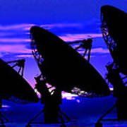 Silhouette Of Satellite Dishes Art Print
