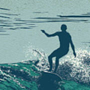 Silhouette Surfer And Big Wave Art Print
