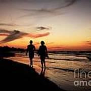 Silhouettes On Varadero Beach Art Print