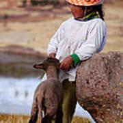 Sillustani Girl With Hat And Lamb Art Print