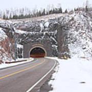 Silver Creek Cliff Tunnel Winter 1 Art Print