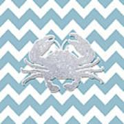 Silver Glitter Crab Silhouette - Chevron Pattern Art Print