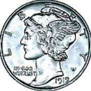 Silver Mercury Dime Art Print