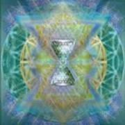 Silver Torquoise Chalicell Ring Flower Of Life Matrix II Art Print