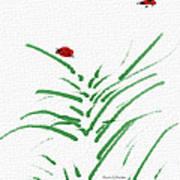 Simply Ladybugs And Grass Art Print
