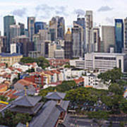 Singapore Central Business District Over Chinatown Area Art Print