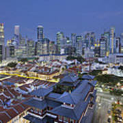 Singapore Central Business District Over Chinatown Blue Hour Art Print
