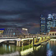 Singapore City By The Fullerton Pavilion At Night Art Print